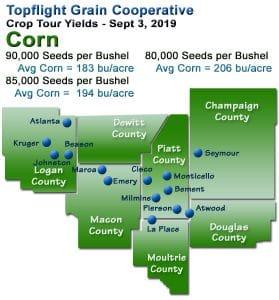 Crop Tour Corn Yields, 2019